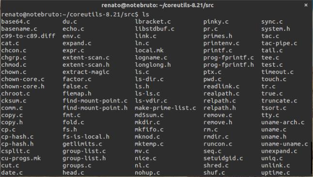 Arquivos do diretórios ~/coreutils/src.