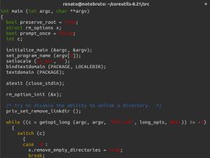 Trecho de código do rm.c